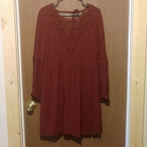 American eagle maroon lace dress